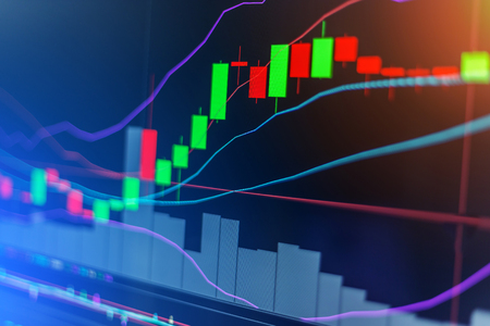 Candle stick graph chart of stock market investment trading stock market concept and background
