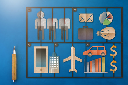 kits: template of business man tools kits with paper cut flat style object on blue leather background  business concept.jpg