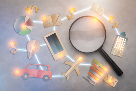 business success ideas with business icon paper flat style connect together with magnifying glass on grey background Stock Photo