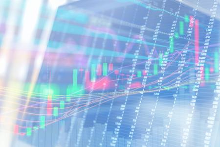 bullish: Display of quotes pricing graph visualization. Stock Photo