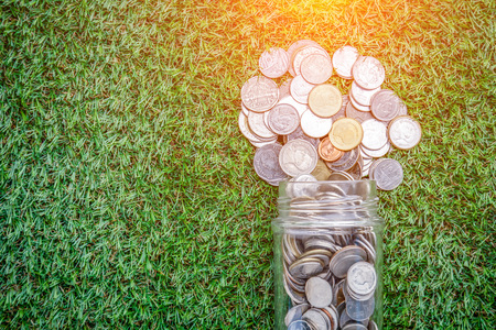 Coins in money jar on grass background business saving concept Stock Photo