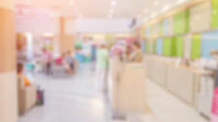 visitador medico: Blur image of counter service in the hospital ,use for background. Foto de archivo