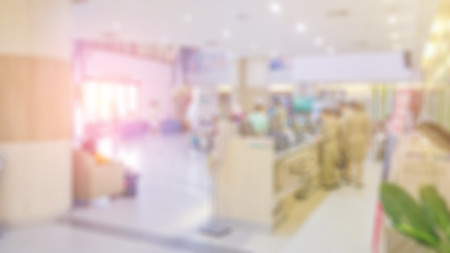 visitador medico: Blur image of people in clinic lobby hall at modern hospital Foto de archivo