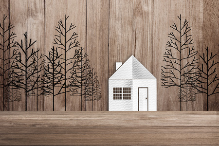 tree line: house paper cut and tree drawing line on old wooden wall and floor background concept Stock Photo