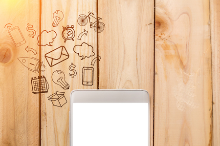 comunication: Smart phone on woodens with business icon business comunication ideas cocnept Stock Photo