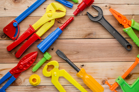 leveler: tools and instruments toys on wood texture creativity ideas concept with copy space four yourtext