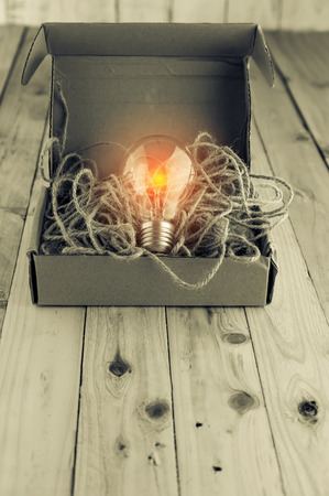 unleash: Opened brown paper box with turned on  light bulb inside  New idea concept  Unleashing your idea concept