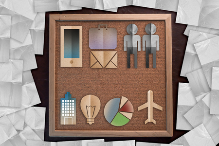 business startup instance tools kits with paper cut flat on corkboard  bulletin board with a wooden frame on leather background