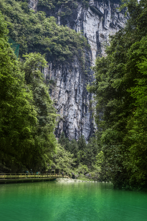 national fruit of china: Waterfall at Wulong National Park, Chongqing, China  the most famous place of valley in china world heritage landscape