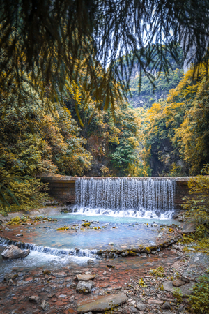 Waterfall at Wulong National Park, Chongqing, China  the most famous place of valley in china world heritage landscape