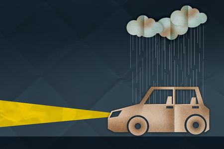 safty: car driving in rain between dark night safty drive concept