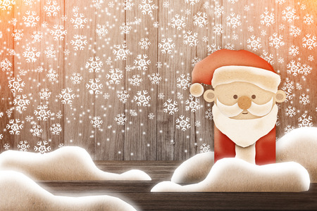 oldman: Merry Santa Claus standing with christmas greetings banner snow.