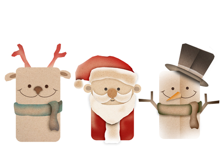 Santa claus on white background. cartoon character retro christmas card.