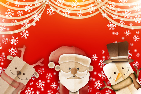 fiambres: Christmas cartoon paper cut style with red background and  snow falling decoration festive celebration card with free copy space