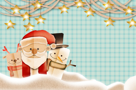 buddy: Greeting card Merry Christmas red Santa Claus with buddy background festive concept Stock Photo