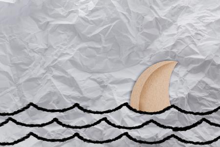shark fin: shark fin paper shape creativity ideas concept Stock Photo