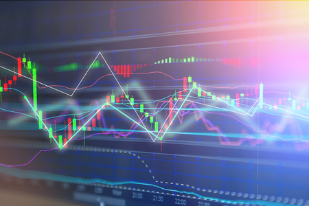 bullish market: concept of finance background Candle stick graph chart of stock market investment trading