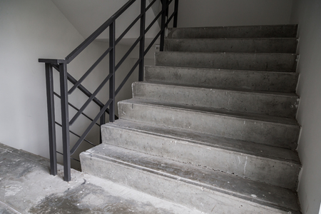 emergency stair: Stairs inside of public building with nobody.fire escape stair for emergency exit Stock Photo