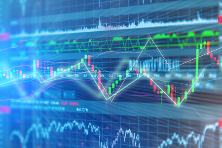 bullish market: Candle stick graph chart of stock market investment trading with digital information screen background business concept Stock Photo