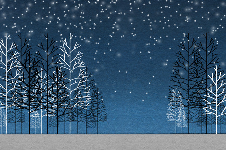 christmas night: background of night forest holy night christmas concept background with snow