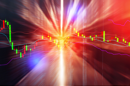stock chart financial concept with blur warehouse background