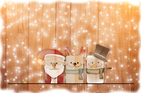 christmas background illustration of funny santa claus and red nosed reindeer Stock Photo