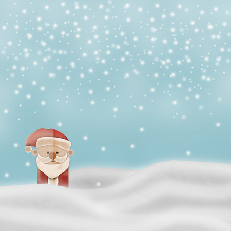 newyear: Greeting card, Christmas card or newyear card with Santa Claus ,deer and tree with snow and light with free copy space for your wish text