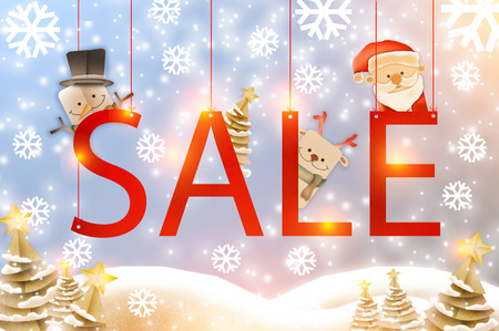 christmas Sale ideas cocnept with snowflakes in paper style against the background of the winter forest,with christmas cartoon paper style