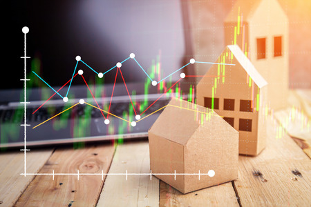 Real estate on the top of wooden floor. house, building, home, Flat design for business financial marketing banking real estate property in minimal concept