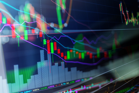 Candle stick graph chart of stock market investment tradin business finance and investment concept