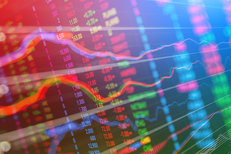 Statistic graph stock market data and finance indicator analysis from LED display. including finance statistic graph stock market education or marketing analysis. Stock analysis indicator