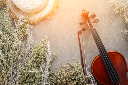 violin on grey background with free copyspace for your ideas texts