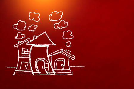 home sweet home concept with drawing of house on background