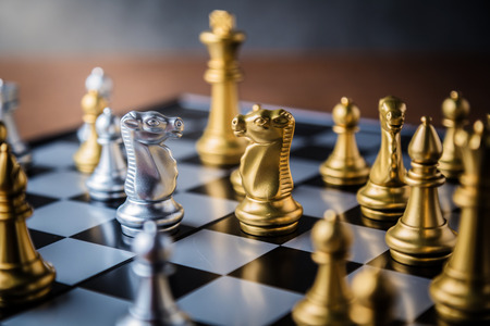 Schachbrett Spielkonzept von Geschäftsideen und Wettbewerb und stratagy Plan Erfolg Bedeutung