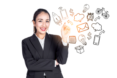 asian business woman smile  and show vision business ideas concept