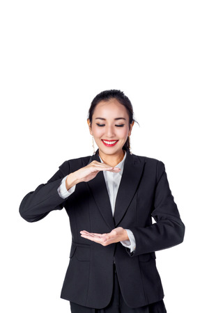 asian business woman smile  and show empty area for your ideas with white background