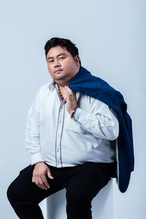 fat asian business man with shirt isolate on white background