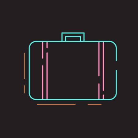 Set of Summer Icon with Neon Style - 09. Suitcase Stock Illustratie