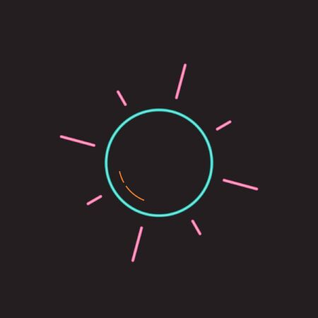 Set of Summer Icon with Neon Style. Sun