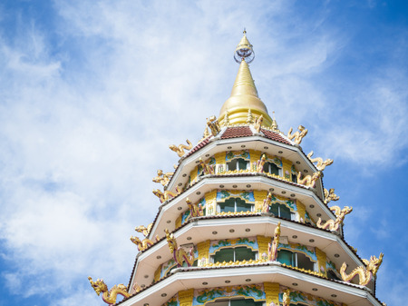 tiers: 9 Tiers Temple on blue sky, North region, Chiang Rai Thailand Stock Photo