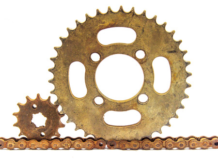gears and cogs: metal gears cogs on white back ground