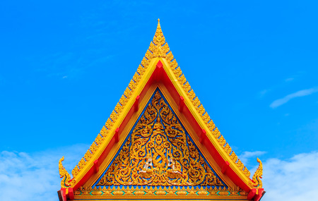 buddhist temple roof: Delicate Thai Art At Roof Top Of Buddhist Temple In Thai