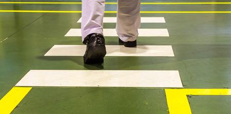 Zebra pedestrian crossing in factory