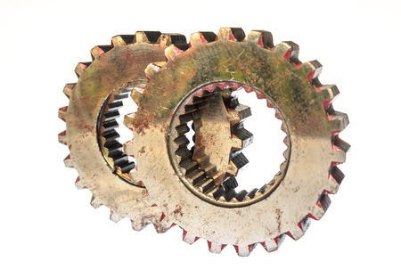 white back ground: Old metal gears isolated on white back ground Stock Photo
