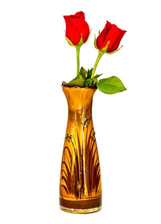 white back ground: Rose flower on the vase isolated on white back ground