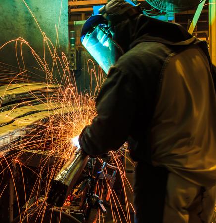 factory: welder Industrial automotive part in factory