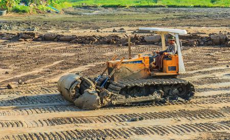 dozer: Dozer action in Industrial Construction Stock Photo