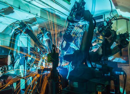 welding machine: Team Welding robots movement in a car factory