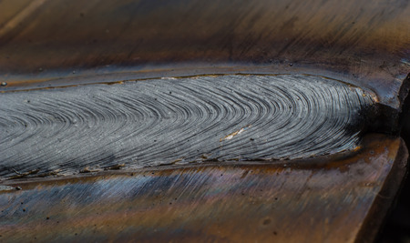 steel sheet: welding seam onto steel sheet metal Industrial steel welder in factory Stock Photo