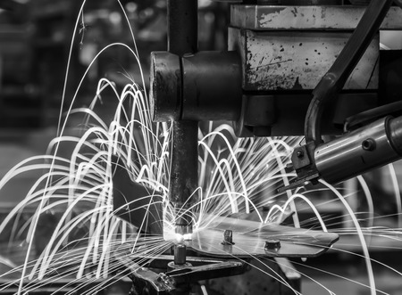 welding machine: Spot welding machine Industrial automotive part in factory black white